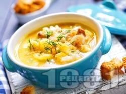 Картофена супа с крутони, копър и краве масло - снимка на рецептата